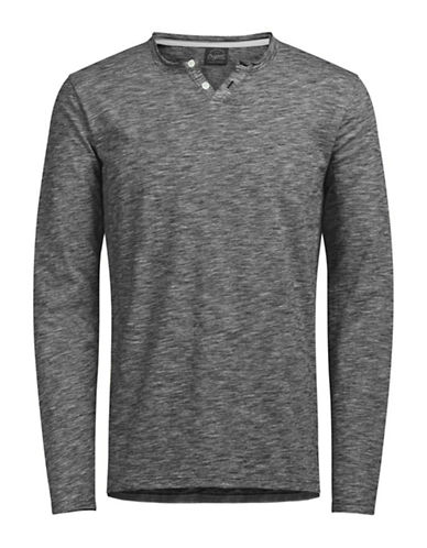 Jack & Jones Long Sleeve Cotton Top-GREY-Large