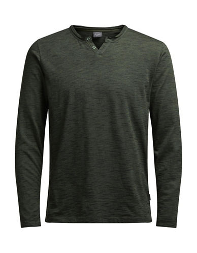 Jack & Jones Long Sleeve Cotton Top-GREEN-X-Large