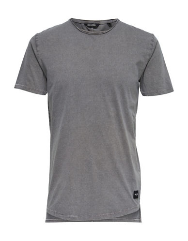 Only And Sons Acid Wash Long Cotton Tee-GREY-Medium