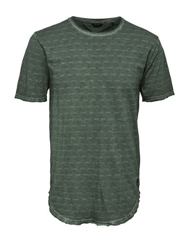 Only And Sons Washed-Out Long Cotton Tee-GREEN-Large