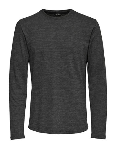 Only And Sons Heathered Long-Sleeve Tee-BLACK-Small