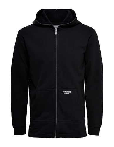 Only And Sons Longline Zipped Cotton Hoodie-BLACK-Small