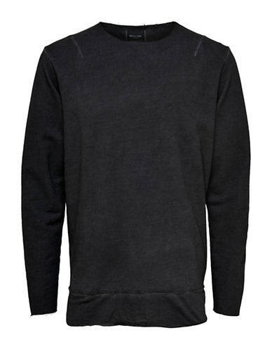 Only And Sons Washed-Out Cotton Sweater-BLACK-Small