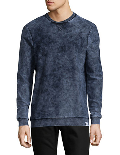 Only And Sons Acid Wash Crew Neck Sweater-BLUE-Large