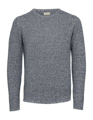 Selected Homme Textured Crew Neck Sweater-BLUE-Large