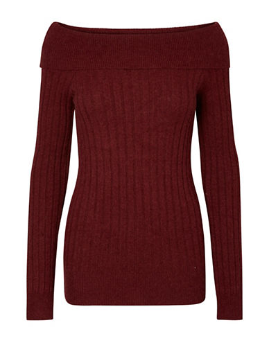 Vero Moda Off-The-Shoulder Sweater-ZINFANDEL-Medium
