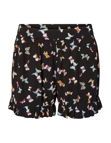 Vero Moda Butterfly Frill Shorts-BLACK MULTI-Medium