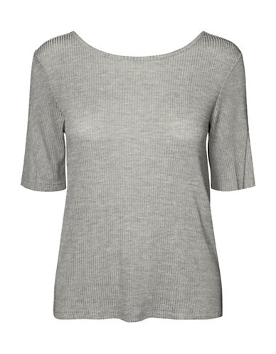 Vero Moda Kaitlyn Wrap Knit Top-GREY-Large