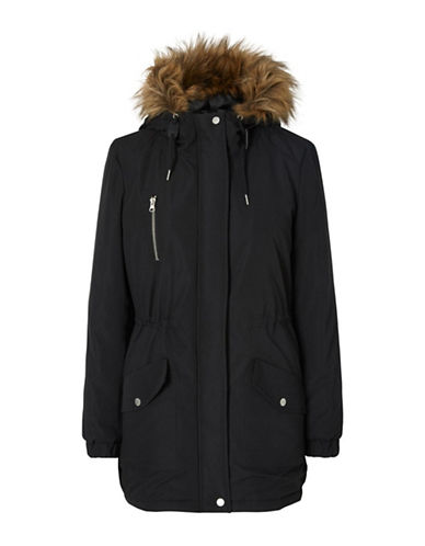 Noisy May Leia Faux Fur-Trimmed Padded Jacket-BLACK-Large