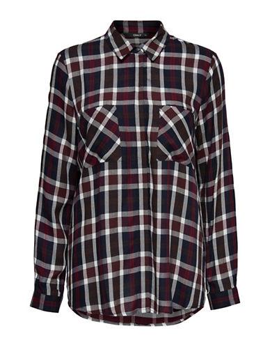 Only Button-Front Plaid Shirt-CLOUD DANCER-36