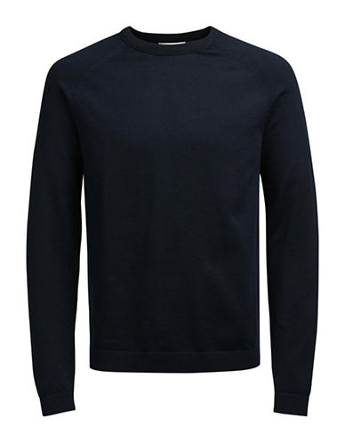 Jack & Jones Long Sleeve Cotton Sweatshirt-NAVY-X-Large