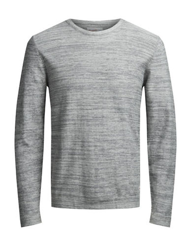 Jack & Jones Knit Crew Neck Cotton Sweater-GREY-XX-Large