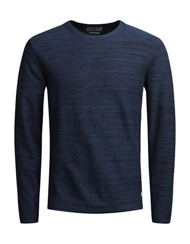 Jack & Jones Knit Crew Neck Cotton Sweater-BLUE-XX-Large