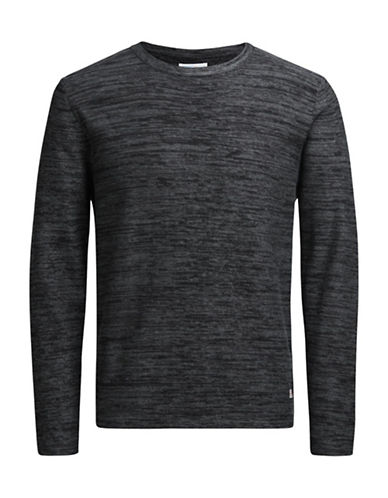 Jack & Jones Knit Crew Neck Cotton Sweater-BLACK-Large