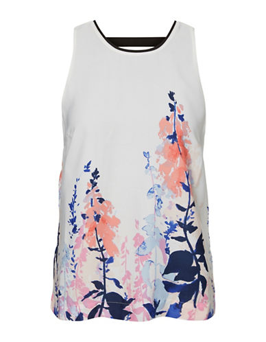 Vero Moda Watercolour Floral Shell Top-WHITE-Medium
