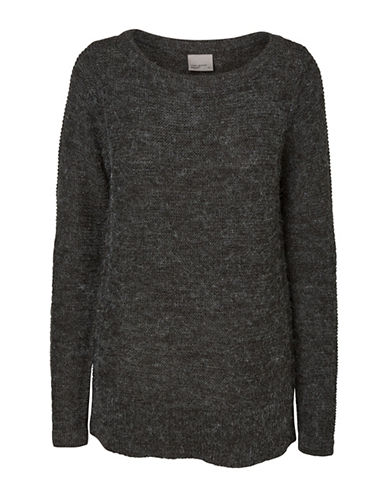 Vero Moda Knitted Boat Neck Sweater-DARK GREY-Large