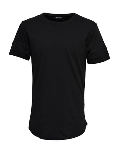 Only And Sons Longline Mesh Detail Tee-BLACK-Small 89227098_BLACK_Small
