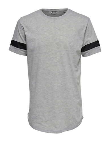 Only And Sons Longline Mesh Detail Tee-GREY-X-Large