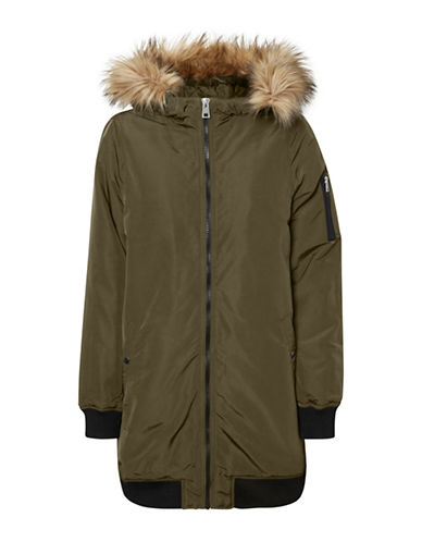 Vero Moda Faux Fur Hooded Jacket-BROWN-X-Small