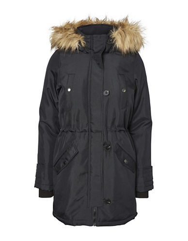 Vero Moda Faux Fur-Trimmed Excursion Expedition Parka-BLACK-Medium