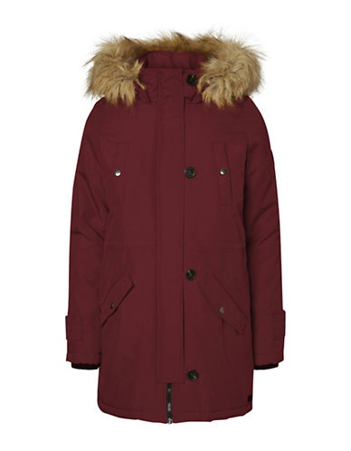 Vero Moda Faux Fur-Trimmed Excursion Expedition Parka-PURPLE-Small