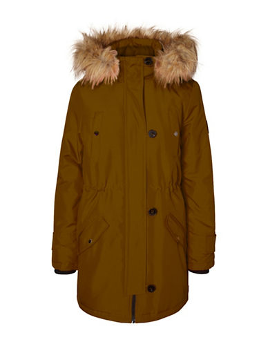 Vero Moda Faux Fur-Trimmed Excursion Expedition Parka-BROWN-Small