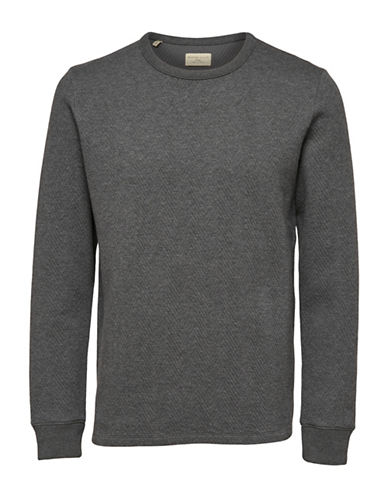 Selected Homme Ricky Crew Neck Sweatshirt-GREY-Medium