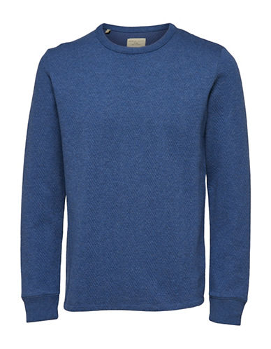 Selected Homme Ricky Crew Neck Sweatshirt-BLUE-Small