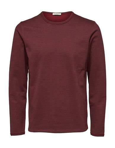 Selected Homme Heathered Crew Neck Cotton Sweatshirt-RED-Large 89668559_RED_Large