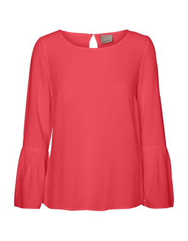 Vero Moda Round Neck Long Bell Sleeve Top-HIBISCUS-Small
