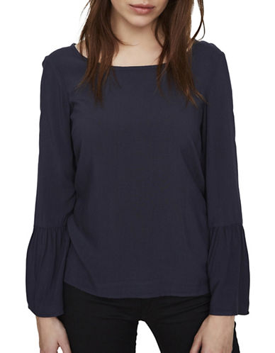Vero Moda Round Neck Long Bell Sleeve Top-BLUE-Medium
