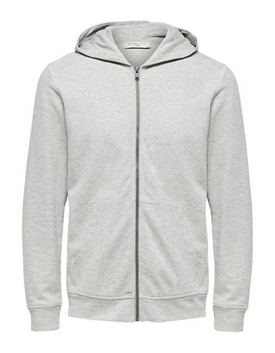 Selected Homme Boris Hooded Cotton Sweatshirt-GREY-Medium