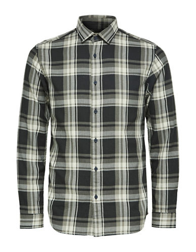 Selected Homme Cotton Plaid Sport Shirt-GREEN-Medium