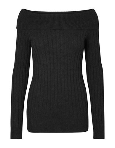 Vero Moda Off-The-Shoulder Sweater-BLACK-Large