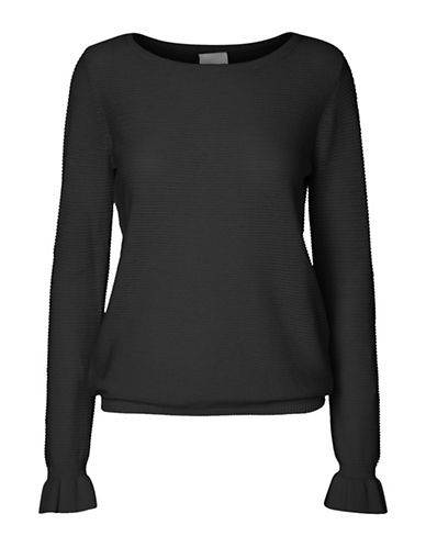 Vero Moda Cotton Boat Neck Blouse-BLACK-X-Small