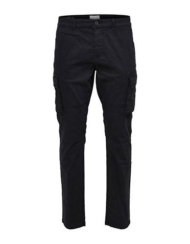Only And Sons Fitted Cargo Pants-BLACK-31X34