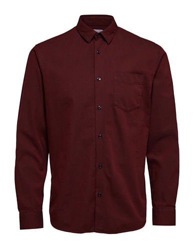 Selected Homme Classic Long-Sleeve Cotton Sport Shirt-PORT-Small