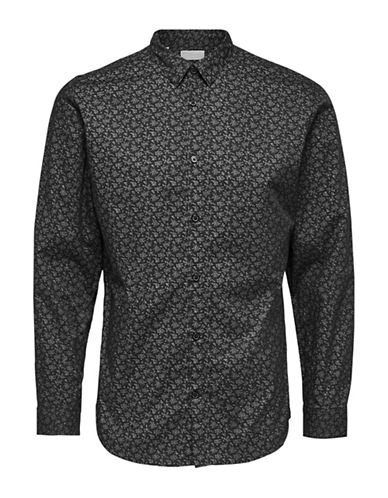 Selected Homme Printed Cotton Sport Shirt-BLACK-Medium