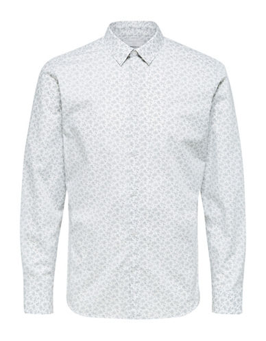 Selected Homme Printed Cotton Sport Shirt-NATURAL-Medium