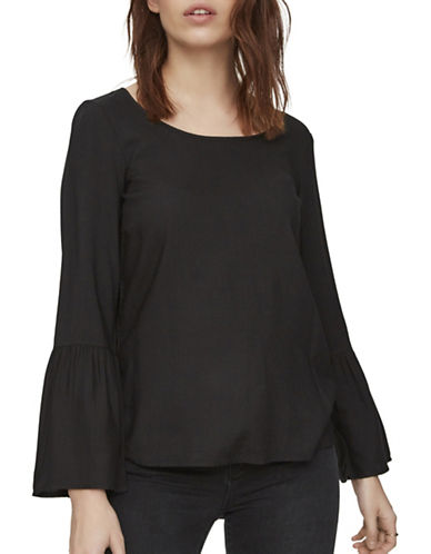 Vero Moda Round Neck Long Bell Sleeve Top-BLACK-X-Small