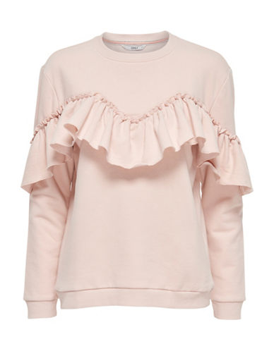 Only Ruffle Detail Sweatshirt-PEACH WHIP-Medium