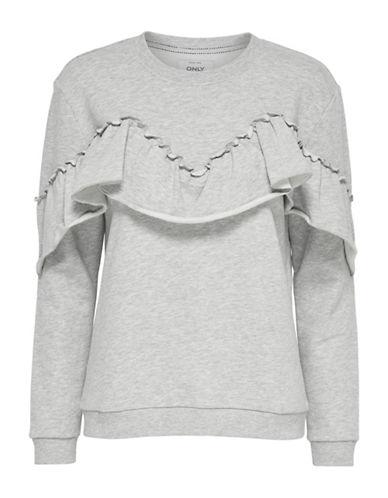 Only Ruffle Detail Sweatshirt-LIGHT GREY-Small