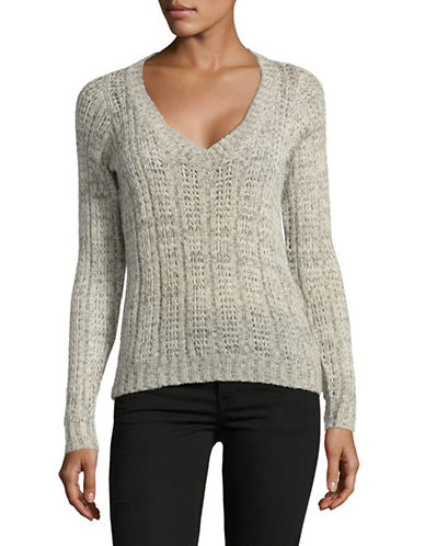 Vero Moda Deep V-Neck Knit Sweater-GREY-Small