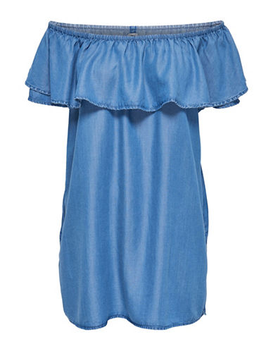 Only Off-The-Shoulder Shift Dress-MEDIUM BLUE-36