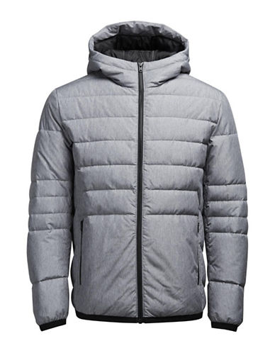 Jack & Jones Hooded Puffer Jacket-GREY-Large
