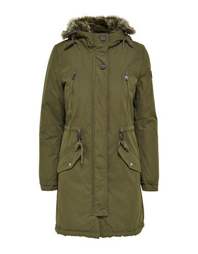 Only Long Parka with Faux Fur-OLIVE-Medium