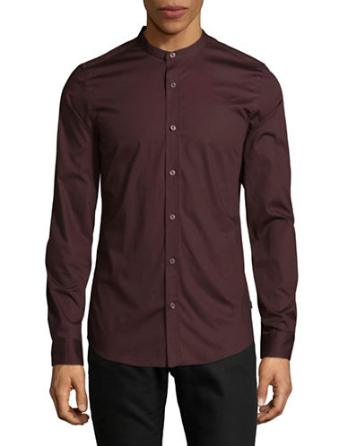 Only And Sons Mandarin-Collar Shirt-RED-XX-Large