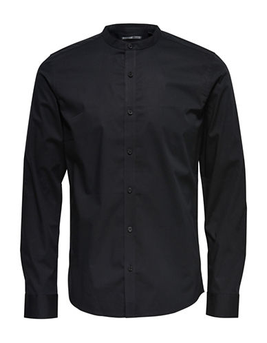Only And Sons Mandarin-Collar Shirt-BLACK-Small