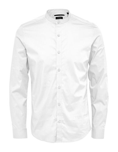 Only And Sons Mandarin-Collar Shirt-WHITE-Medium