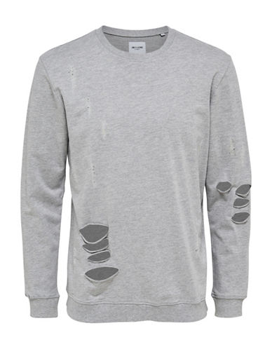 Only And Sons New Freeman Destroyed Sweatshirt-GREY-Medium